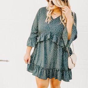 Dresses & Skirts - Teal Greenwich Polka Dots Ruffle Doll Dress, S-XL
